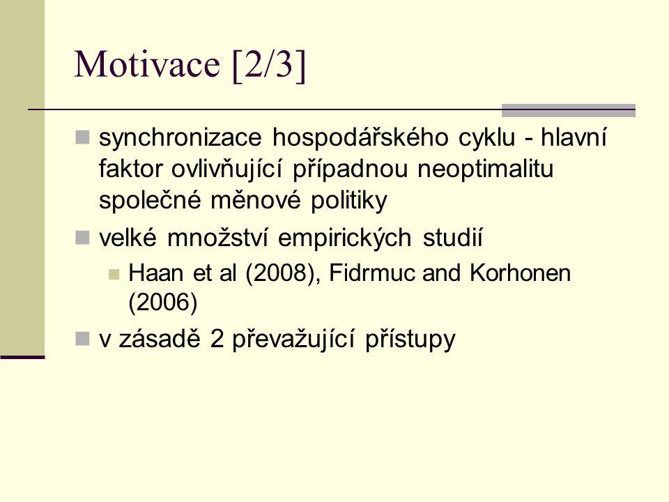 Motivace [2/3] synchronizace hospodářského cyklu - hlavní faktor ovlivňující případnou neoptimalitu společné měnové politiky.